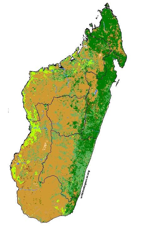 Madagascar Vegetation Map Map showing land cover / vegetation types in Madagascar