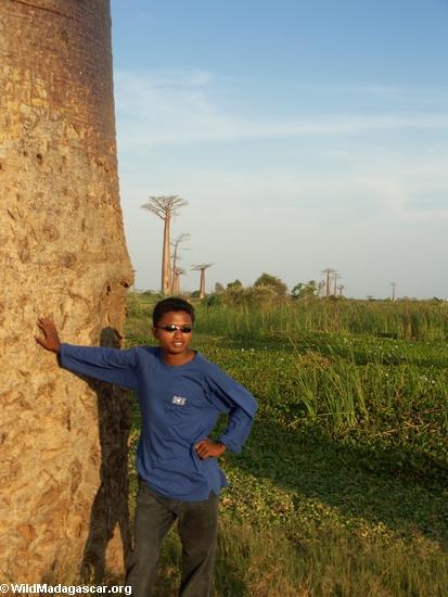 Benja with baobabs (Morondava)