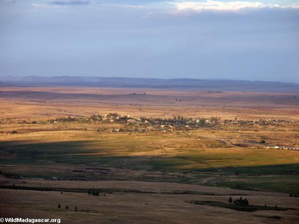 Aerial view of Ranohira village near Isalo (Isalo)