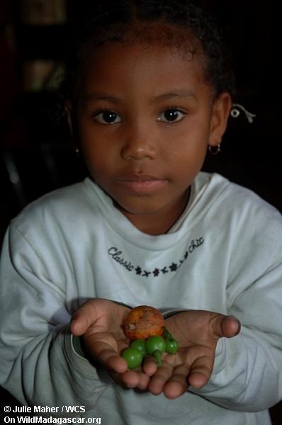 Madagassisches Mädchen mit Frucht