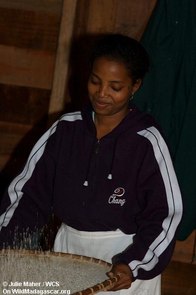 Madagassische Frau, die Reis vorbereitet