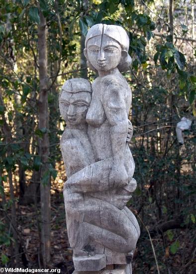 Sakalava carvings depicting fady sexual positions (Kirindy)