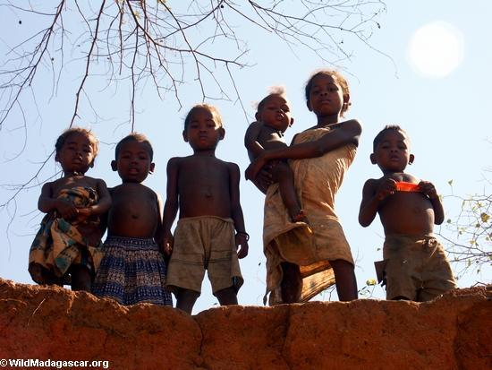 Children in Tsianaloka village on banks Manambolo (Manambolo)