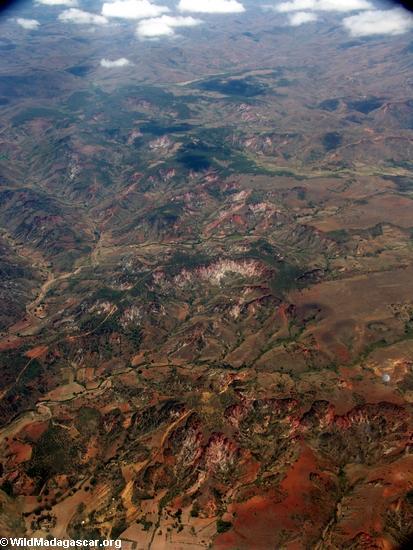 Lavaka erosion in Madagascar (Airplane flight from Anatananarivo to Maroantsetra)