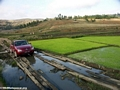 Car crossing rice paddy -- poor roads in Madagascar (Ambositra area)