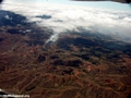 Aerial view of agricultural fire in Madagascar (Airplane flight from Anatananarivo to Maroantsetra)