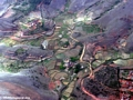 Aerial view of village in Western Madagascar (Flight from Tana West) [village_aerial_1]